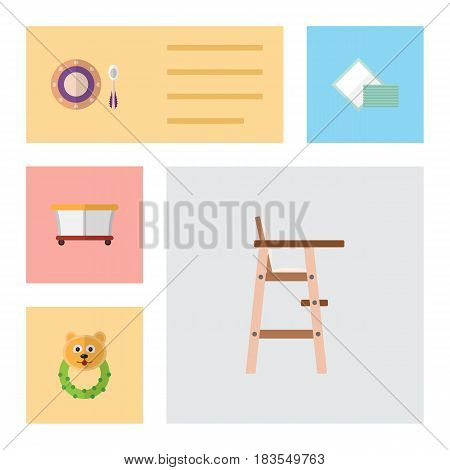 Flat Baby Set Of Rattle, Child Chair, Napkin And Other Vector Objects. Also Includes Chair, Plate, Beanbag Elements.