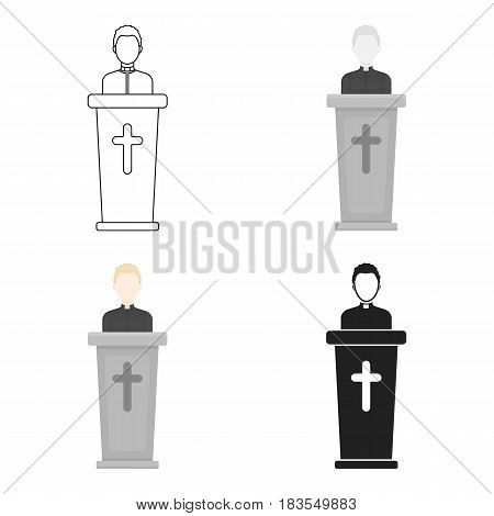 Priest icon in cartoon style isolated on white background. Religion symbol vector illustration.