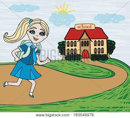happy Girl going to school , vector illustration