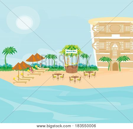 Cafe on tropical beach landscape , vector illustration