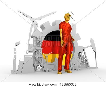 Young man wearing apron. Bearded worker at industrial isometric icons set with Germany flag. 3D rendering. Metallic material. Energy generation and heavy industry.