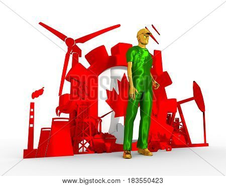 Young man wearing apron. Bearded worker at industrial isometric icons set with Canada flag. 3D rendering. Metallic material. Energy generation and heavy industry.