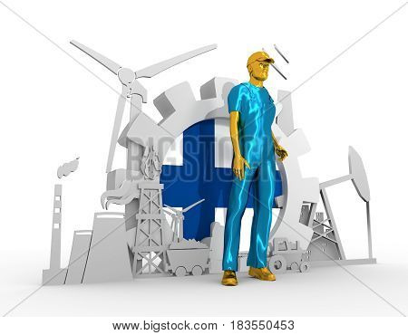 Young man wearing apron. Bearded worker at industrial isometric icons set with Finland flag. 3D rendering. Metallic material. Energy generation and heavy industry.