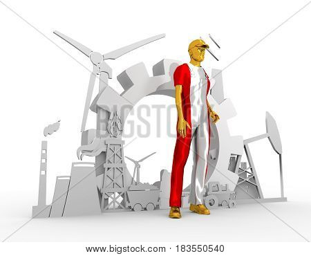 Young man wearing apron textured by Austria flag. Bearded worker at industrial isometric icons set. 3D rendering. Metallic material. Energy generation and heavy industry.