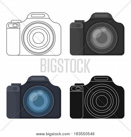 Digital camera icon in cartoon design isolated on white background. Rest and travel symbol stock vector illustration.
