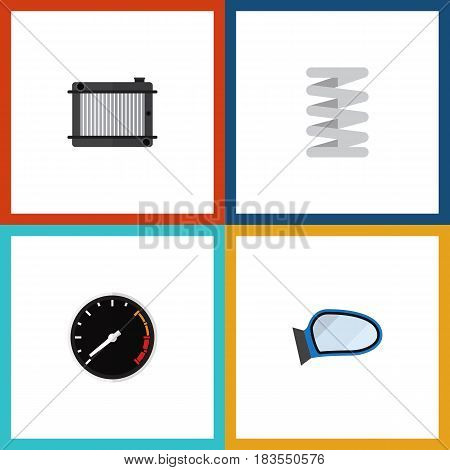 Flat Component Set Of Auto Component, Tachometr, Crankshaft And Other Vector Objects. Also Includes Spring, Speedometer, Mirror Elements.