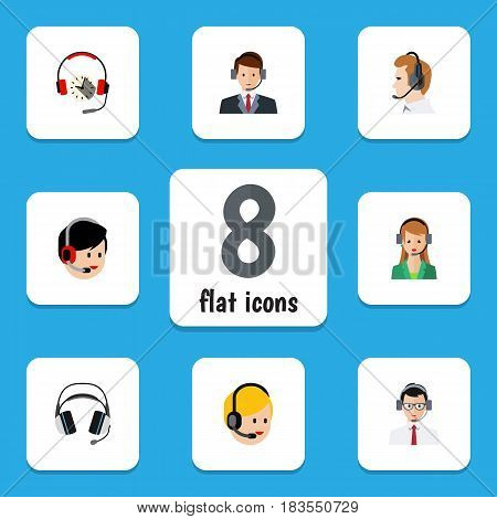 Flat Hotline Set Of Secretary, Telemarketing, Earphone And Other Vector Objects. Also Includes Secretary, Headset, Online Elements.