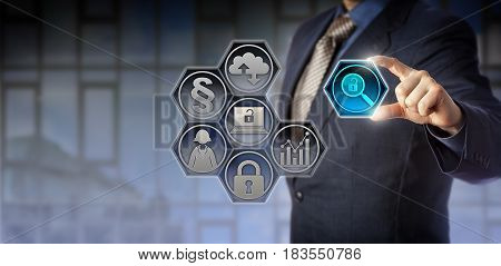 Blue chip enterprise governance officer tweaking a virtual magnifier icon between thumb and index finger. Business concept for regulatory compliance government regulations corporate transparency.