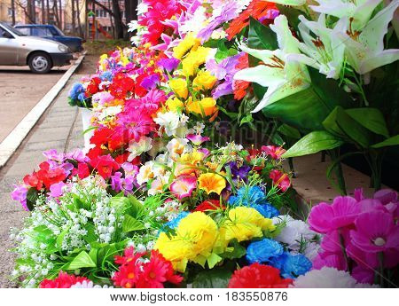 Flowers at the store on a clear day, in the rays of a warm sun