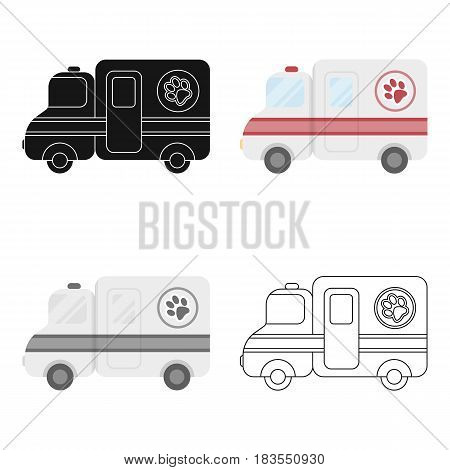 Veterinary ambulance icon in cartoon design isolated on white background. Veterinary clinic symbol stock vector illustration.