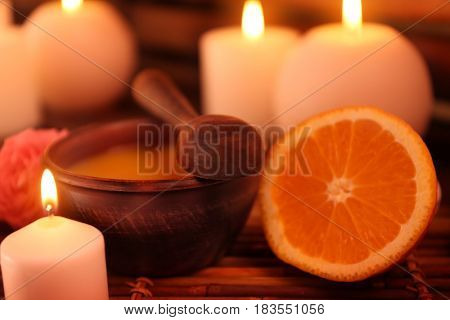 Beautiful spa setting with candles, closeup