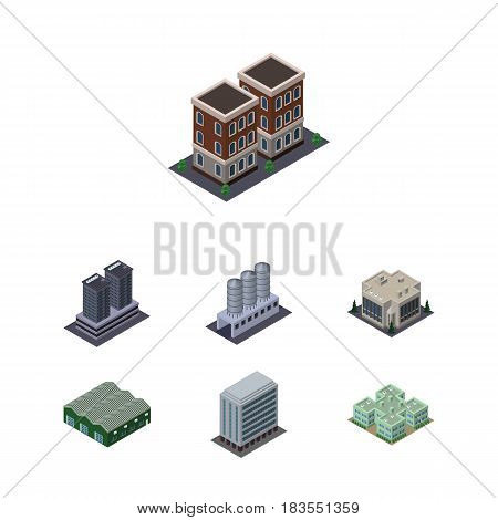 Isometric Building Set Of Water Storage, Company, Tower And Other Vector Objects. Also Includes Tank, House, Depot Elements.