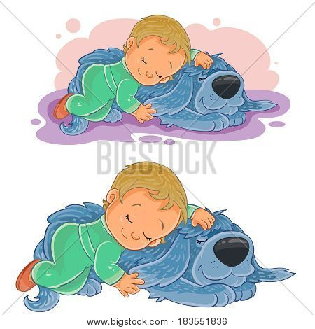 Vector illustration of a small child falling asleep using his dog instead of a pillow. Print