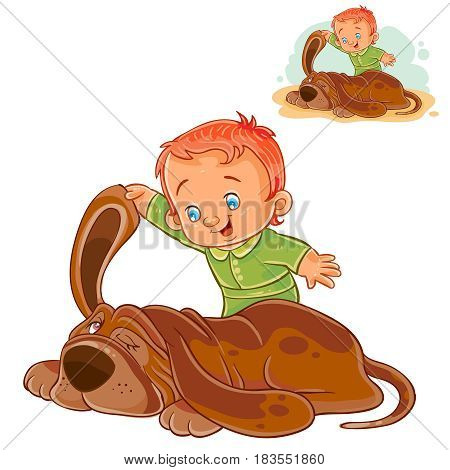Vector illustration of a little boy touching the sleeping dog s ear. Print