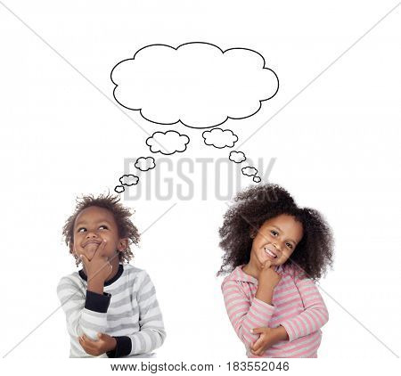 Pensive children isolated on a white background