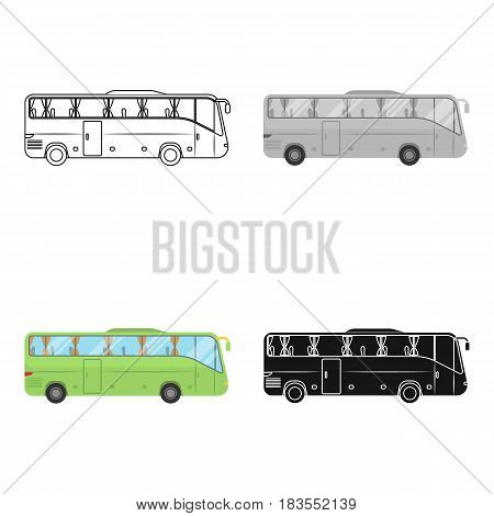Green tour bus icon in cartoon design isolated on white background. Rest and travel symbol stock vector illustration.