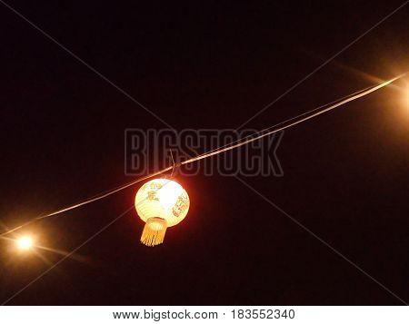 Chinese lantern under the dark night clear night sky