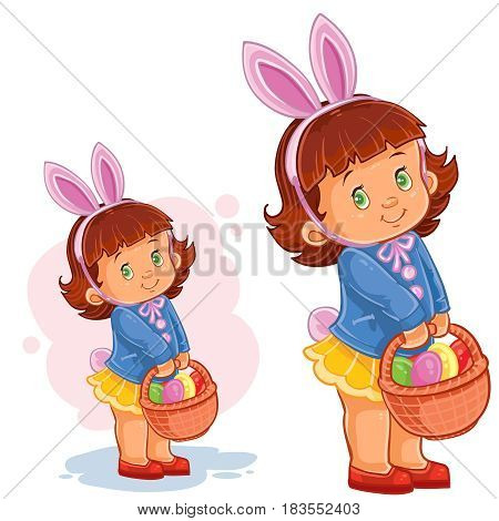 Vector illustration of a little girl with bunny ears and a basket for hunting for Easter eggs. Print