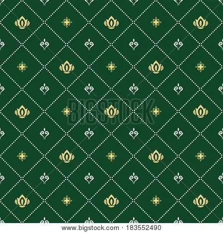 Seamless classic green and golden pattern. Traditional orient ornament