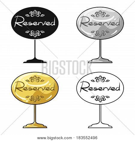 Restaurant golden reserved sign icon in cartoon style isolated on white background. Restaurant symbol vector illustration.