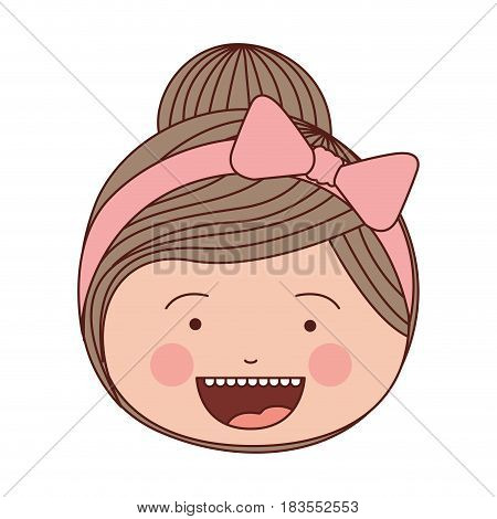 color silhouette smile expression cartoon front face girl with collected hair and pink bow lace vector illustration