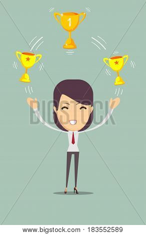 Cartoon businesswoman holding trophy. Stock vector illustration for poster, greeting card, website, ad, business presentation, advertisement design.