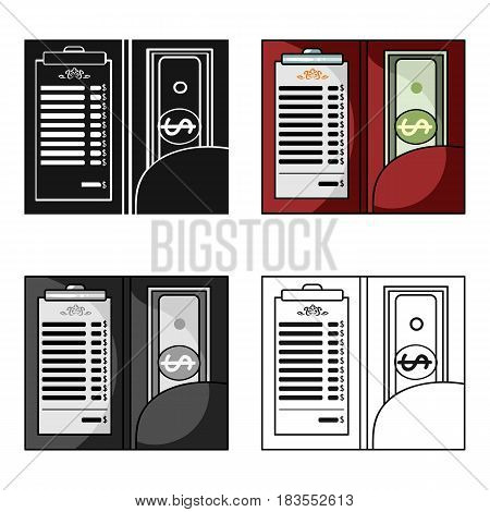 Restaurant receipt with cash icon in cartoon style isolated on white background. Restaurant symbol vector illustration.
