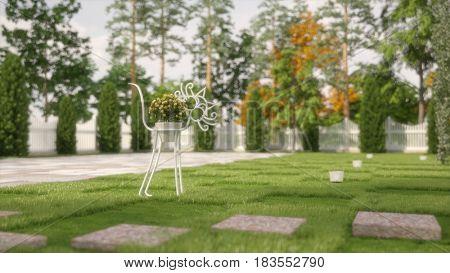 3d illustration of the metal cat sculpture with flower pot