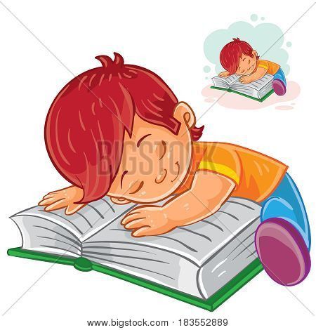Vector illustration of a little boy reading a book and falling asleep on it. Print