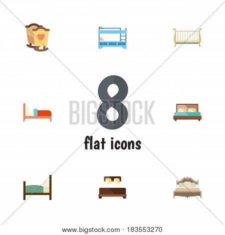 Flat Bedroom Set Of Bunk Bed, Crib, Cot And Other Vector Objects. Also Includes Cot, Bed, Hostel Elements.