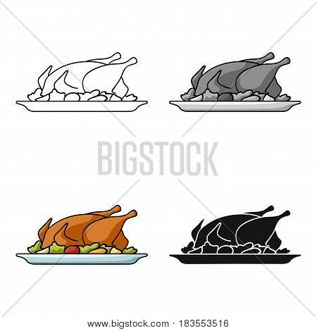 Roasted chicken with garnish icon in cartoon style isolated on white background. Restaurant symbol vector illustration.
