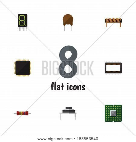 Flat Device Set Of Triode, Destination, Mainframe And Other Vector Objects. Also Includes Display, Resistor, Transistor Elements.