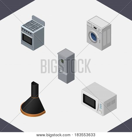 Isometric Appliance Set Of Laundry, Air Extractor, Microwave And Other Vector Objects. Also Includes Hood, Microwave, Refrigerator Elements.