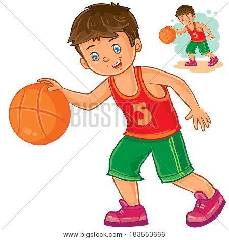 Vector illustration of little boy playing basketball. Print