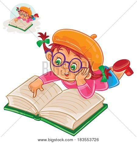 Vector illustration of little girl is reading a book lying on her stomach