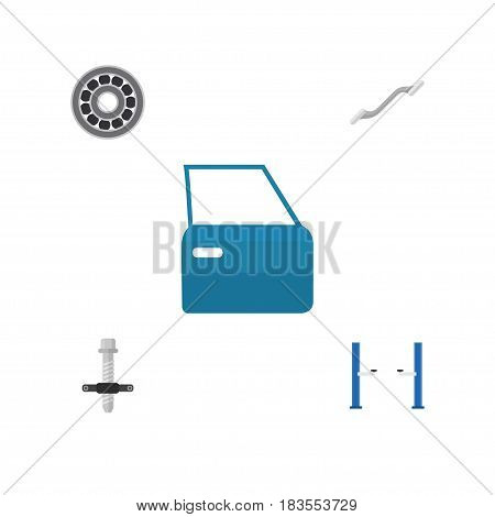 Flat Service Set Of Coupler, Automobile Part, Auto Jack And Other Vector Objects. Also Includes Silent, Ratchet, Car Elements.