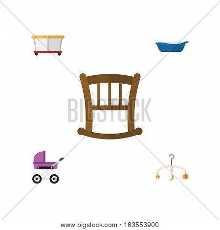 Flat Child Set Of Playground, Stroller, Bathtub And Other Vector Objects. Also Includes Crib, Bathing, Children Elements.