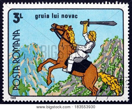 ROMANIA - CIRCA 1989: a stamp printed in Romania shows Gruia Lui Novac Romanian Cartoon circa 1989