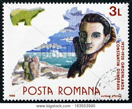 ROMANIA - CIRCA 1986: a stamp printed in Romania shows Constantin Dumbrava Romanian Scientist and Naturalist Exploration of Greenland Polar Research circa 1986