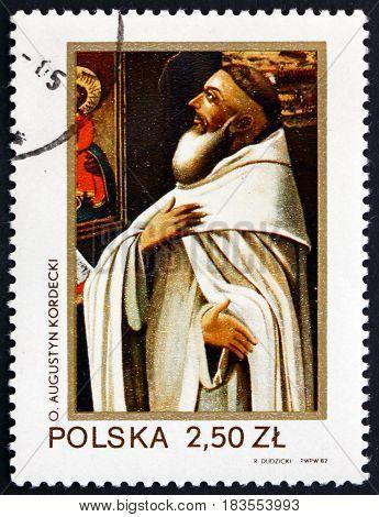 POLAND - CIRCA 1982: a stamp printed in Poland shows Father Augustin Kordecki Was a Prior of the Jasna Gora Monastery Poland circa 1982