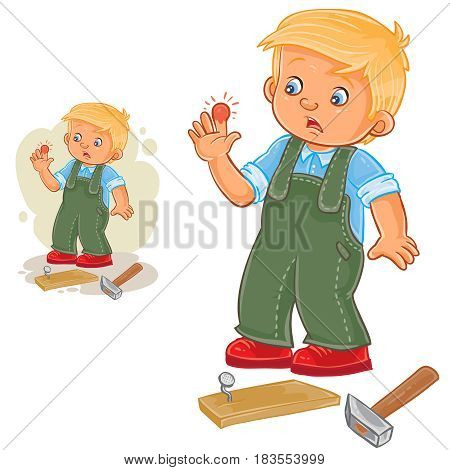 Vector illustration of a little boy hammering a nail and bruised finger. Print