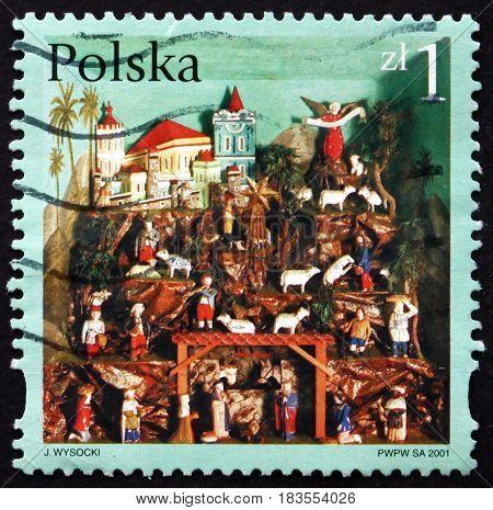 POLAND - CIRCA 2001: a stamp printed in Poland shows Creches from Lower Silesia Christmas circa 2001