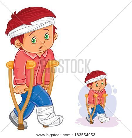 Vector illustration of a little boy on a crutch with a leg in a plaster and bandaged head. Print
