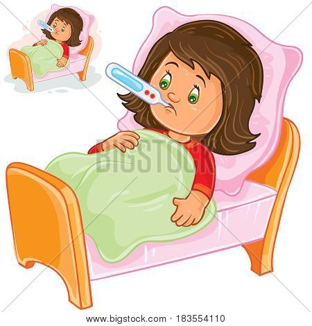 Vector illustration of a sick little girl lies in bed with a thermometer. Print