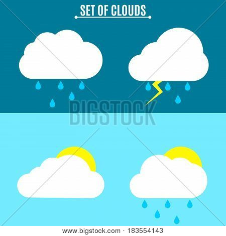 Set. Weather. A simple vector illustration in a flat style. Thunderstorm and rain on a dark background. Sun and clouds on a light background. EPS 8
