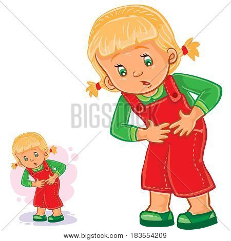Vector illustration of a little girl with abdominal pain, gastritis, stomach ulcer, appendicitis, food poisoning. Print