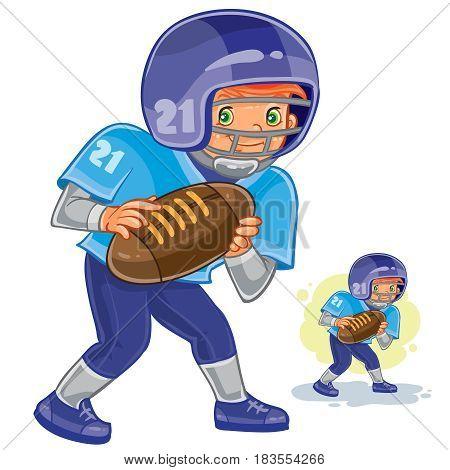 Vector illustration of little boy playing American football. Print