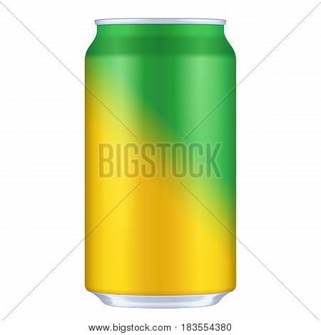 Yellow, Orange, Green Blank Metal Aluminum 330ml Beverage Drink Can. Illustration Isolated. Mock Up Template Ready For Your Design. Vector EPS10