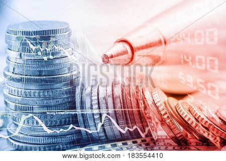 Closeup view of stack of coins, technical chart of financial instruments, a pen and a stock market price quotations. Concept of stock market analysis for certified financial analyst or CFA and CFP