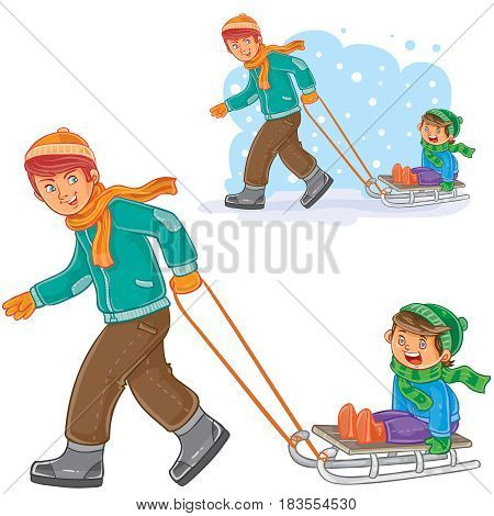 Vector winter illustration of dad, older brother dragging sled with little boy. Print